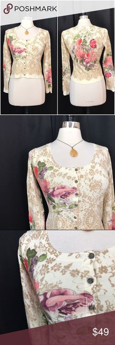 NEW LISTING💜Anthropologie spring floral cardigan Size small. HWR by Anthro. Button down front. Rayon, nylon. EUC (2.19.0)  💟Fast 1-2 day shipping 💟Reasonable offers accepted 💟Purchase 3 or more items & get a special bundle rate!  💟Smoke-free home Anthropologie Sweaters Cardigans