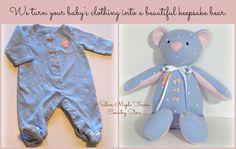 Baby Bear Keepsake, baby keepsake, keepsake from baby clothes, keepsake bear, upcycled baby clothes, bear made from clothes, custom keepsake