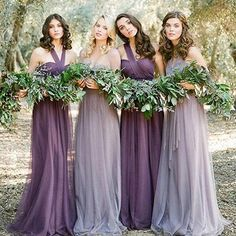 Convertiable Mismatched Tulle Long Wedding Party Dresses Cheap Charming Bridesmaid Dresses, WG34 The long bridesmaid dresses are fully lined, 4 bones in the bodice, chest pad in the bust, lace up back