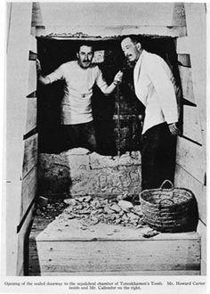 Howard Carter at the entrance to the tomb of Egyptian King Tutankhamen....Pyramids.