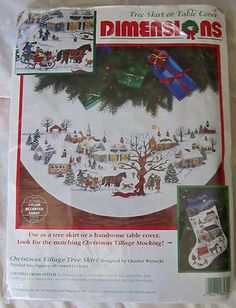 Charles Wysocki Christmas Village Tree Skirt Table Cover Cross Stitch Kit