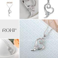 ROXI heart Necklace Pendant platinum plated Austrian Crystal Women Fashion Jewelry