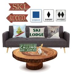 """""""Ski House"""" by thl539 on Polyvore featuring interior, interiors, interior design, home, home decor, interior decorating, One Bella Casa, Sur La Table and Dot & Bo"""