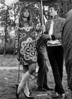 Jean Shrimpton and Manfred Mann lead singer Paul Jones on the set of Privilege