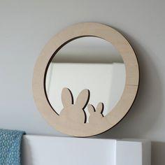 Bunny mirror, rabbit mirror, child mirror, nursery decor, baby shower gift