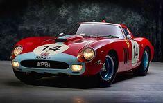 Wow, not used to seeing a British flag on a Ferrari yo! Sooper really neato car, huh? Maserati, Bugatti, Ferrari Racing, Ferrari Car, Lamborghini Aventador, Vintage Sports Cars, Vintage Race Car, Classic Sports Cars, Classic Cars