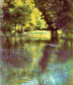 Podkowinski, Wladyslaw - 1894 Lake in the Park French Impressionist Painters, Art Academy, Claude Monet, Beautiful Artwork, Watercolor Paintings, Watercolors, Painting Inspiration, Poland, Art Photography