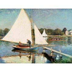 Sailing at Argenteuil c1874 Canvas Art - Claude Monet (27 x 20)