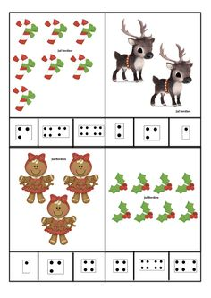 Juf Berdien zelfgemaakte telkaarten met getalbeelden thema kerstmis kleuters klas Christmas Math, Christmas Activities For Kids, Preschool Christmas, Christmas Crafts, Xmas, Autism Activities, Toddler Activities, Toddler Learning, Owl Crafts
