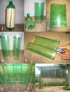 Greenhouse roof with 2 liter plastic bottles!