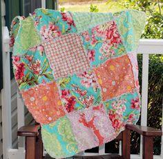 Modern Baby Rag Quilt  Pink Peach Turquoise  by RedEyedStudio, $50.00