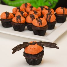 Valrhona chocolate chili cupcake with clementine buttercream topped with melted dark chocolate and hot chilipowder