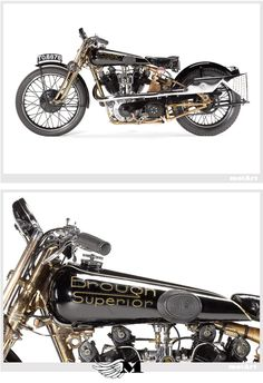 1929 Brough Superior SS100 Motorcycle. Known as Moby Dick, the Fastest Motorcycle of the 1920's.