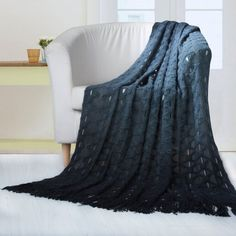 Chic Home Anderson Ombre Knitted and Mercerized Yarn Dye Throw Blanket (Teal - Victorian), Blue - Twin (Faux Fur, Geometric) Cotton Blankets, Soft Blankets, Knitted Blankets, Cable Knit Throw, Ombre Yarn, Online Bedding Stores, Teal And Grey, Gray, Teal Blue