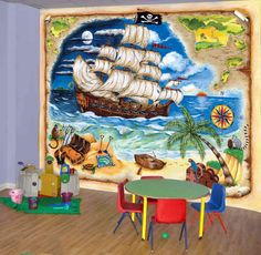 Pirate Ship kids wall mural, Prepasted Washable and dry strippable wall paper, wall covering Kids Wall Murals, Murals For Kids, Art For Kids, Kid Art, Disney Rooms, Pirate Day, Prepasted Wallpaper, Wallpaper Murals, Stencil Designs
