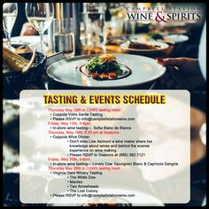 #CampbellStationWine&Spirits brings you this month's list of tastings and wine dinner. Immerse yourself in the wine culture and join us for our events listed below!   Visit our website: http://www.campbellstationwine.com/