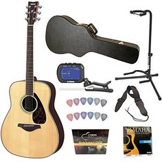Fender Squier Acoustic Guitar Bundle with Gearlux Hardshell Case, Austin Bazaar Instructional DVD, Guitar Stand, Clip-On Tuner, Extra Strings, Strap, Picks, String Winder, and Austin Bazaar Polishing Cloth - Natural