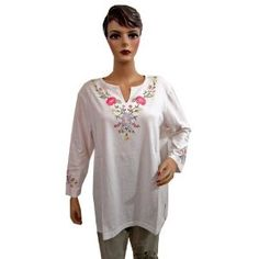Womens Splashed White Cotton Tunic Top Embroidered Blouse Xxl Size (Apparel)  http://www.amazon.com/dp/B007VAH5FK/?tag=oretoretanku-20  B007VAH5FK