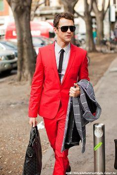 Red suit, so daring