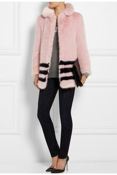 Light-pink and midnight-blue faux fur coat from Shrimps at Net-A-Porter https://www.net-a-porter.com/product/452316/Shrimps/dulcie-faux-fur-coat
