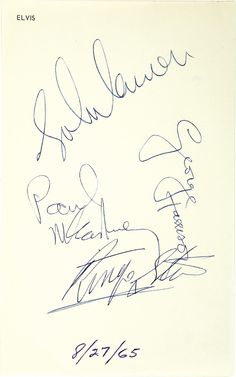 Beatles met Elvis and signed his stationery.