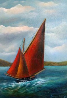 Spectacular Seascapes off the Coast of Ireland: The Wild Atlantic Way - Vast, rugged, untamed shores! This is where land and sea collide and the undulating waves beat a rhythm to the shore. Tall Ships, Sailing Ships, Oil On Canvas, Places To Visit, Waves, Bob Ross, Sea, Fine Art, Landscape