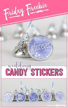 Quick and easy wedding favor in Victorian lilac! Reception Party, Reception Ideas, Wedding Candy, Wedding Favors, Printable Stickers, Free Printable, Lilac Wedding, Favorite Candy, Candy Shop