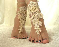 mariage de plage, accessoires de mariée pied, dentelle champagne sandales : Autres accessoires par passionis