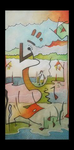 """""""Au bord de l'étang"""" (c) Cédric Bescond #art #Bretagne #contemporain - #Art #Peinture #Artiste #peintre #Brest #Bretagne #Contemporain #culture - #contemporary #artist #french #brittany"""
