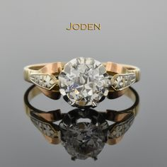Vintage Old European Cut Diamond Engagement Ring. Subtle, yet unique details allow the bright diamond to take center state in this vintage engagement ring with an old European cut diamond approximately .85 ct.