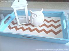 Stenciled Tray via Chase the Star | Chevron Furniture Stencil by Royal Design Studio