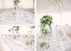 Stunning floral table vases, adding height but still allowing you to talk to people across the table !