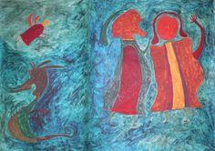 "Ilija (Bosilj) Bašičević. Legend with Fairy. 1963. Gouache on cardboard. Signed ""Ilija,"" center left. 27 1/2"" x 39 3/8"" (70 x 100 cm). From the series ""Ilijada,"" no. I-23. ""Ilija's World,"" p. 187."