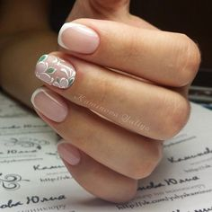 Delicate spring nails, French on short nails, March nails, Nails for spring dress, Spring french manicure, Spring nail art, Spring nails 2017, Spring nails with flowers