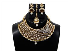 Indian Bollywood Fashion Jewelry Designer Pearl Bridal Necklace Sets #Handmade