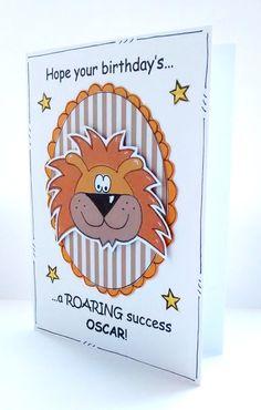 Lion Birthday Card Personalised by CraftyMushroomCards on Etsy