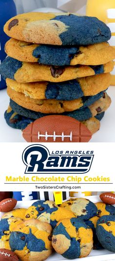 Los Angeles Rams Chocolate Chip Cookies - a classic cookie recipe suited up in team colors. Super easy to make and it will definitely wow your family and friends as a Football Game Day dessert or a Super Bowl Party Food. Go Rams! Pin this fun Super Bowl treat for later and follow us for more Super Bowl Food Ideas. #LosAngelesRams #Rams #GameDayTreat #SuperBowl #SuperBowlParty #LosAngelesRamsFood