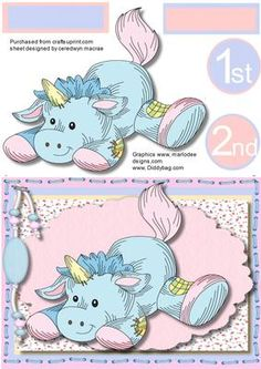 Lovely Unisex 1st and 2nd birthday card  on Craftsuprint designed by Ceredwyn Macrae - A lovely card for boy or girl on there 1st or 2nd birthday with Patchwork unicorn has two greeting tags left blank for you to choose the sentiment ,  - Now available for download!