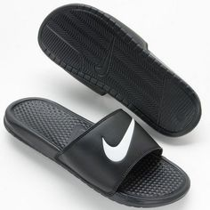 Nike slides slip on shoes Benassi Swoosh size 10 Nike slides - benassi swoosh - black, white - men's size Brand new with tags still attached and never been worn. Nike Flip Flops, Mens Flip Flops, Flip Flop Shoes, Mens Nike Sandals, Nike Slide Sandals, Nike Shoes, Men's Sandals, Buy Shoes, Slip On Shoes
