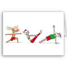yoga Christmas card-love the reindeer and Santa! #yogi #yogaeveryday