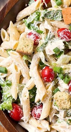 A creamy and delicious pasta salad with all the flavors of a Caesar Salad\n\n Ingredients\n 1 cup mayonnaise\n ⅓ cup sour cream\n 1 large clove ga