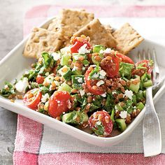 Wheat berry salad with tomatoes and goat cheese
