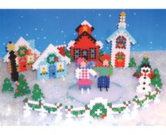 Create your own winter scene from Perler Beads! Includes houses, a town hall, a church, skaters, a snowman, trees, and a fence draped in holiday garland. Great fun as a family project!