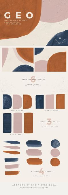 Watercolor Shapes and Backgrounds in Rust, Navy and Blush Pink + Ink Splashes by Basia Stryjecka. Hand-painted watercolor shapes, backgrounds, and ink splashes. Perfect for print and web projects such Colour Pallette, Colour Schemes, Pink Palette, Warm Color Palettes, Create Color Palette, Modern Color Palette, Neutral Palette, Neutral Colour Palette, Graphic Design Inspiration