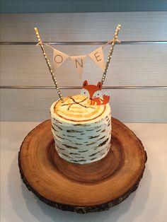 Woodland fox birch tree cake for first birthday #woodland #firstbirthday #babyboy #cricut #diy
