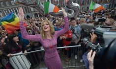 Drag queen and Yes campaigner Panti Bliss celebrates in Dublin Castle square. Photograph: Charles McQuillan/Getty Images