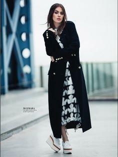 Bensu Soral Resmi Web Sitesi Chinese Symbol Tattoos, Clothing Hacks, Spring Outfits, Dress Pants, Duster Coat, Actresses, Chic, Celebrities, Jackets