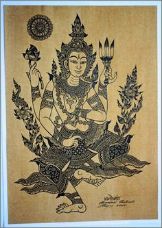 Thai traditional art of Shiva by silkscreen printing on sepia paper