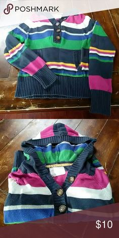 Aeropostale hooded sweater Has a large front pocket and buttons. Multicolor stripes with ribbing at hem and end of sleeves. Aeropostale Sweaters