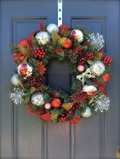 Red Silver Holiday Wreaths Red Christmas by WreathsByRebeccaB